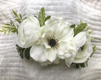 White Anemone Flower Crown