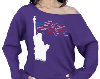 This Is My Country Off the Shoulder T-shirt Off The Shoulder Oversized Sweatshirt Indepencence Day Liberty Statue Patriotic