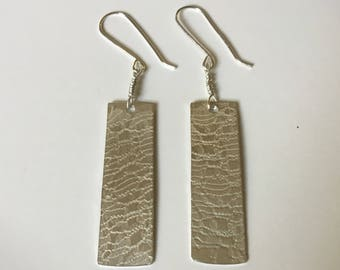 Textured sterling silver danglers