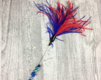 Cat toy | Luxurious ostrich feathers cat teaser wand toy | Feather cat toy | Indoor cat toy | Red and blue cat toy