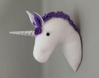 Plush Taxiderm Purple Wall Mounted Unicorn Head Girls Bedroom Decoration