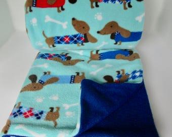 Happy Dachshunds Fleece Blanket Throw