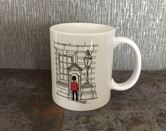 London Gift,English Gift London Mug, Queen's Guard Mug, Art Mug, Designer Mug, London Art, London Design