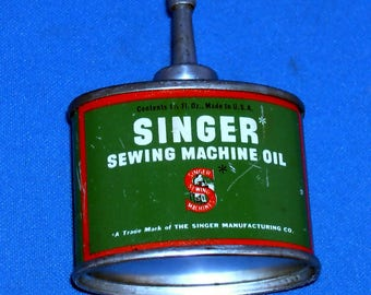 Vintage Singer Sewing Machine Company Oil Can - Metal