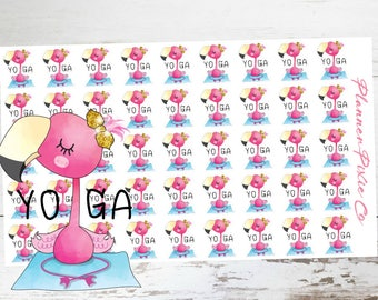 Fiona the Flamingo // Planner Stickers // Flamingo Planner Stickers // Yoga // Workout