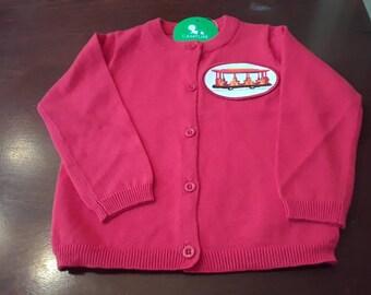 Daniel Tiger Trolley Red Button Down Cardigan / Sweater
