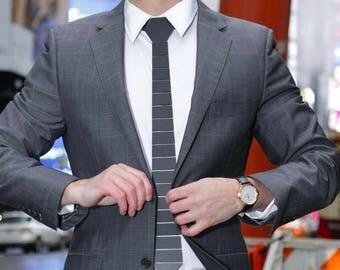 Dapper Silver/Black/Gold Tie - Hex parallel Lines Style ( Suit Accessories - NeckTie, Neck tie )