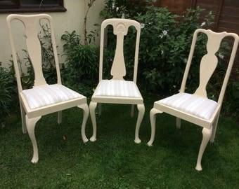Set Of Three Vintage Queen Anne Chairs