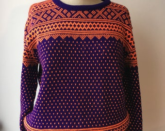 Funky 1980's orange and purple vintage jumper