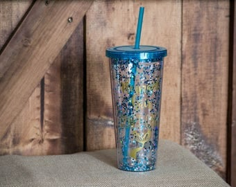 Mermaid Hair Don't Care Glitter Tumbler with Straw