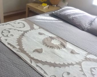 White embroidered bed runner Bed dressing Bed cover White embroidery Table cover Table decor Wall decor