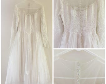 Vintage Tea Length Wedding Dress/ 1950's Wedding Dress/ 1950's Tulle Wedding Dress/ Vintage Long Sleeve Wedding Dress/ Vintage Lace Dress