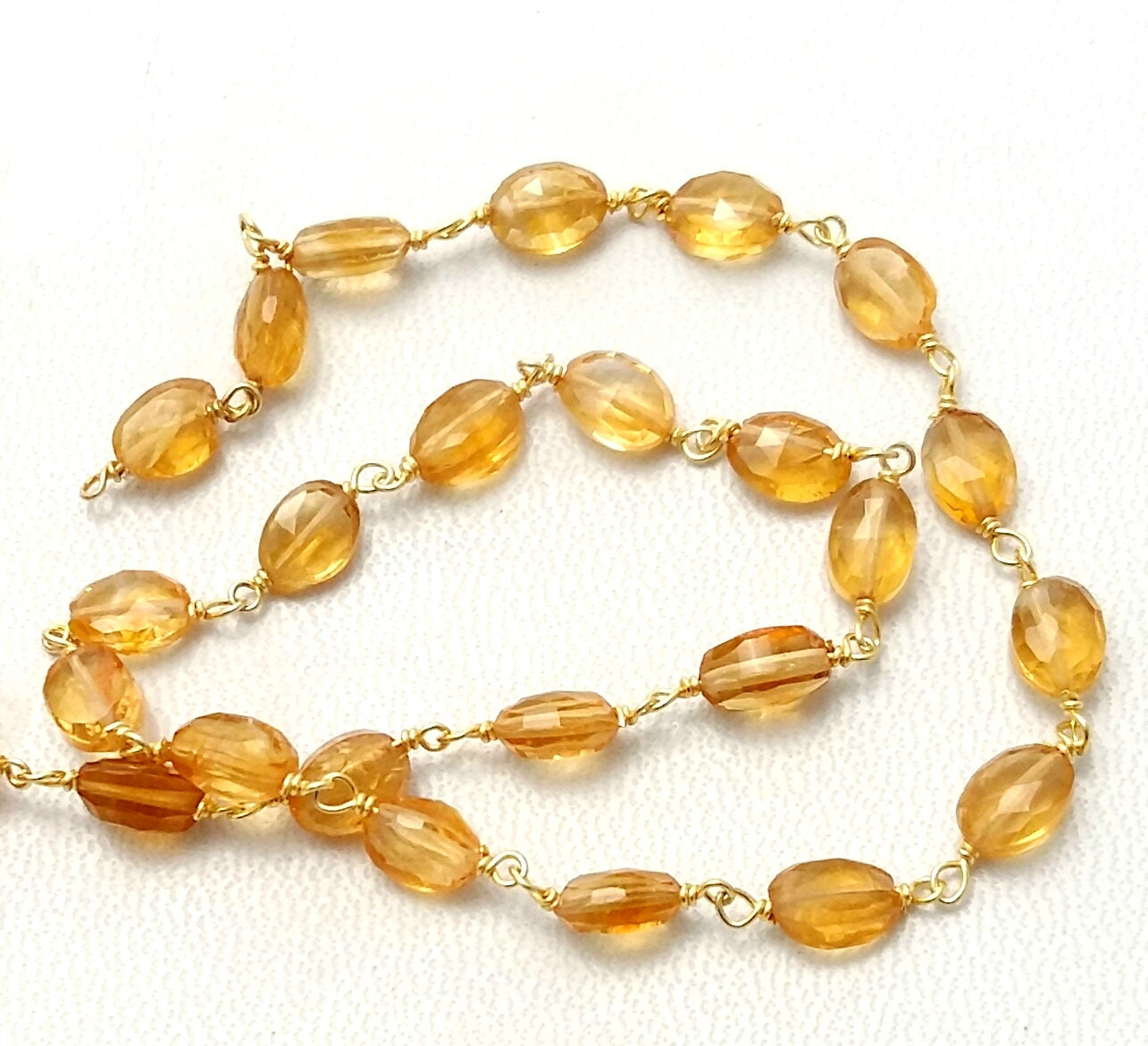 Rosary Chain Citrine Faceted Oval Shaped Beads 925