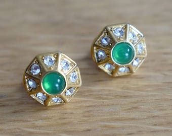Vintage 1960s Clip-On Gold and Green Diamante Earrings
