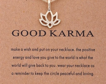 Good Karma- Dogeared Charm Necklace- Gold Lotus- Small Charm