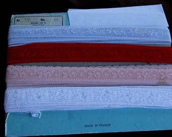4 white, red, blue lace rose 2 cm wide, 1 meter for each lace flower motifs