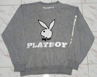 Vintage Playboy Big Embroidery Logo SpellOut Sweatshirt Streetwear Jumper