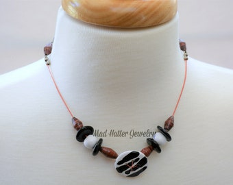 Black, White and Brown Beaded Necklace