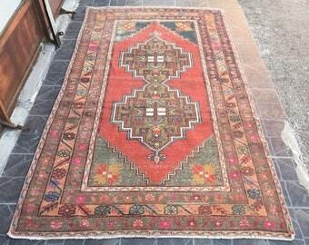 Free Shipping Oushak Rug Vintage Hand Woven Turkish Rug Turkish Rug Rug Vintage turkish rug kilim Rug    8.2 x 4.3  feet R:7