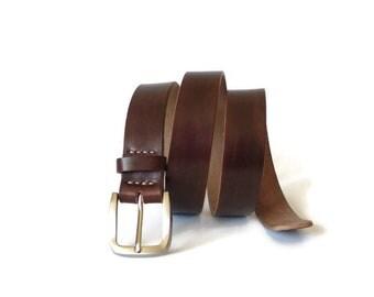 Leather belt, brown leather belt, men's belt, hand made belt, gift him, Father's Day,