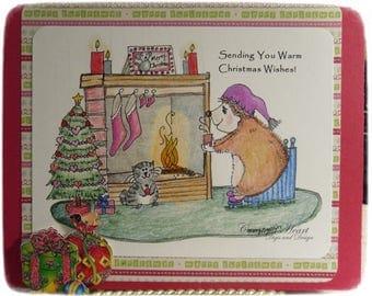 Hettie Hedgehog Christmas Fireplace  (image, stamp)