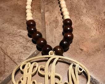 Monogrammed Beaded Necklace
