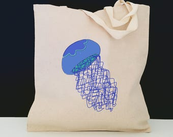 Personalized Jellyfish Tote Bag (FREE SHIPPING), 100% Cotton Canvas Jellyfish Tote Bag, Jellyfish Tote Bag, Jellyfish Gift, Jellyfish Tote