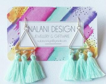 Tri tassel earrings (Ice blue)