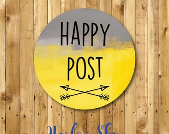 50 x Glossy Grey & Yellow Happy Post Stickers Labels //packages//parcels//post//business
