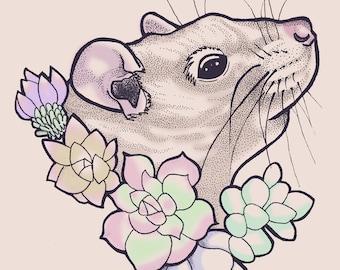 Rat Art Print   Floral Succulent   Mouse Art   Pop Art   Animal Art   5x7   8x10   11x14   24x36