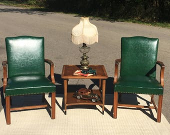 Vintage Mid Century Walnut U0026 Leather Chairs (2), B L Marble Chair Co  Furniture