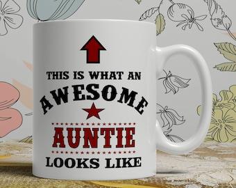 Awesome Auntie mug Auntie gift mug Auntie coffee mug Auntie gift idea Auntie mug for her coffee mug for her gift idea for her mug AW Auntie