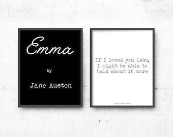Modern Large Prints, Emma Art Print, Literary Art Quotes Set of 2 Prints, Literary poster gift, Jane Austen Wall Art, Black and White Art