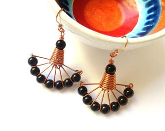 Copper and black obsidian technical wire earrings