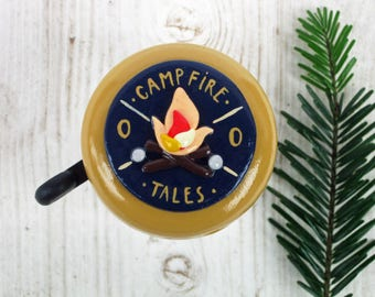 Bike Bell - Campfire Tales - 55mm - polymer clay - handmade