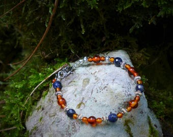 Amber and sodalite Beads Bracelet