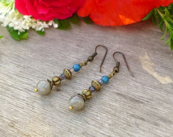 Bronze earrings, labradorite, iolite and blue apatite