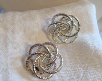Textured Silvertone Knotlike Clipon Earrings