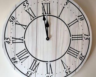 "24"" Wall Clock - Custom Farmhouse & Rustic Style in White"