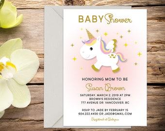 Unicorn Baby shower invite, baby shower, baby girl invitation, shower invitation, printable invitation, digital invitation