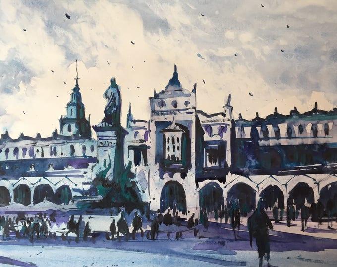Town center of Kraków in watercolour