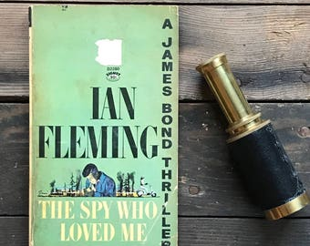 Vintage James Bond by Ian Fleming paperback The Spy Who Loved Me,  thriller, classic, extremely  unseen age and cover of Bond books