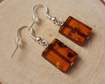 "Amber earrigs ""conac square"".Baltic amber.Natural stone.Christmas gift.Amber earrings.Conac amber."