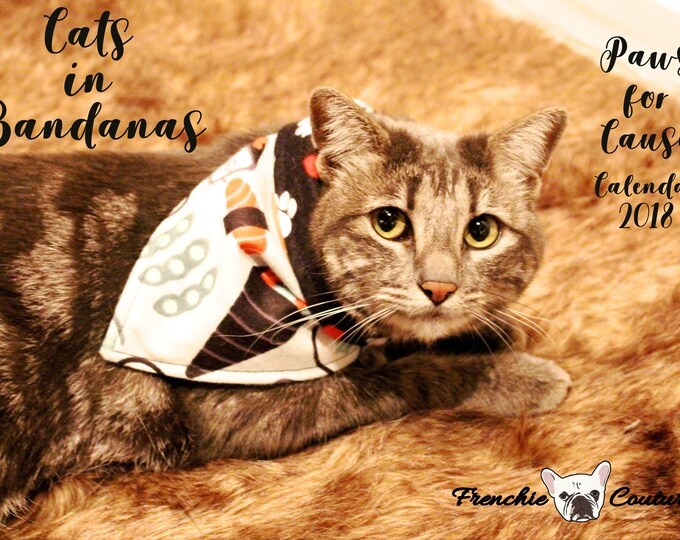 Featured listing image: Cats in Bandanas 2018 Calendar - Paws for Cause - Proceeds Support Give Me Shelter Cat Rescue