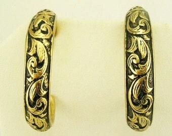 """Joan Rivers Antique Gold Srolled Hoop  PIERCED Earrings   1 1/8"""""""