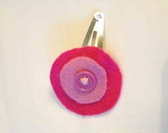 hair clip for little girl in shades of pink with button