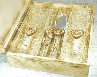 Wedding Champagne Flutes & Cake Server Set, Cake Knife Set, Birch Wedding Set, Bridal Shower Gift, Wedding Gift