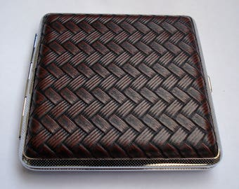 Vintage Black-Brown Leather Double Sided Cigarette Case, Gift for Him, Leather Cover, Luxury Gift, UNUSED