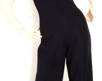 Vintage 70s 80s Strappy Jumpsuit Romper Flared Pants Trousers All in one Black  Size S US 8 UK 10
