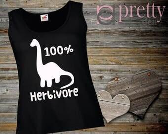 100% Herbivore Black Ladies Vest Top Tank